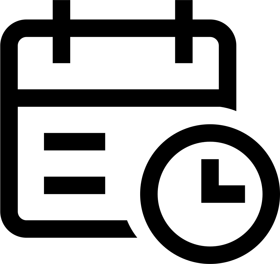 Black and white outline of a calendar and clock with a link leading to appointment FAQ, patients should see if their insurance is accepted before their appointment