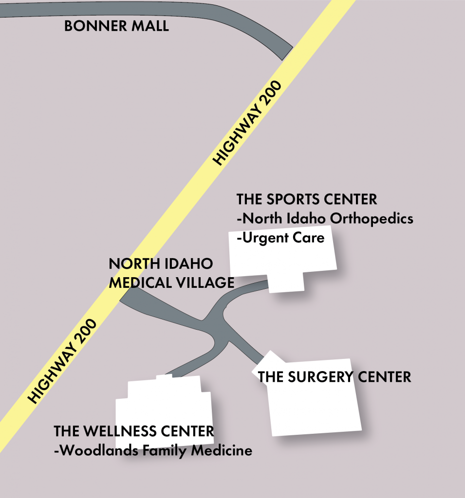 Map of North Idaho Medical Village, showing location of Woodlands Family Medicine